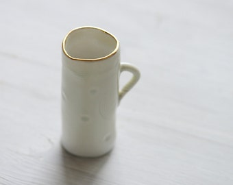 Hand Built  delicate coffee/tea  Cup with gold rim