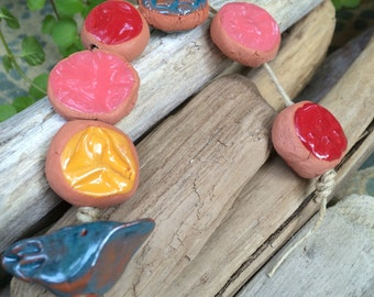 handpainted set of 7 ceramic bird beads Artisan ceramic beads red clay red yellow spring gingerbread nature themed charms red clay beads