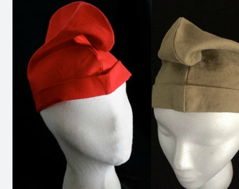 Phrygian Cap French Revolutionary hat in Scarlet Cotton or tan or blue linen,  olive hemp Historical hat- Men's hat  SCA Garb, LARP