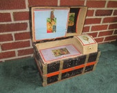 Antique Fabulous Doll Trunk Complete with Tray Insert and Compartments