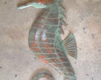 Seahorse  Metal Art  Wall  Sculpture 30in high Tropical Beach Coastal