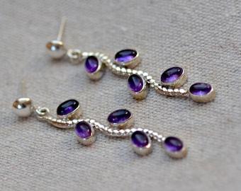 Amethyst Sterling Silver Posts. Purple Amethyst Earrings. Grape Vine. Silversmith. February Birthstone.