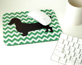 Daschund Custom Mousepad, Computer Mouse Pad, Chevron Mouse Pad, Round Mouse Pad, Dog Lover Gift, Gift for Dog Lover, Daschund Gift