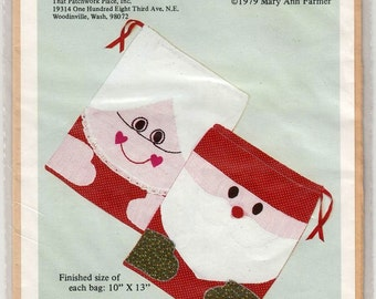 Mr and Mrs Santa Gift Sack Craft Sewing Pattern 10 x 13 each That Patchwork Place