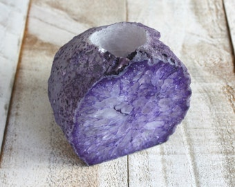 Agate Stone Candle Holder - Purple