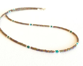 Necklace - Matte Brown Glass Seed Beads with AB Finish - Turquoise Heishi Beads - Sterling Silver