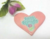 Pottery Heart Ornament / Best Friends Gift / Pink and Aqua / Clay Pendant / Cute Purple Flower Design / Handmade Pottery