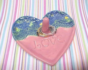 Starry Night Jewelry Ring Dish / Pottery FLASH SALE Until Feb. 6, 9PM / Pink Blue Yellow Large Heart Shape / Valentine Gift / Ready to Ship