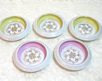 Floral China Coasters, Pink And Yellow Floral Coasters