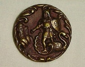Great large Metal Picture Button, Lohengrin's arrival - tiented Brass, - great color