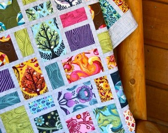 Quilt Tula Pink Birds Bees Scrappy Patchwork Lap Throw Colorful Modern Gray Squirrels Trees Lattice Nature Theme Berries Flowers Blue Green