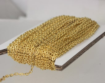 Gold Plated Texture Chain Bulk, 12 ft. of Flat Texture Oval Chunky Cable Chain - 3x2mm Unsoldered - Necklace Bracelet Chain