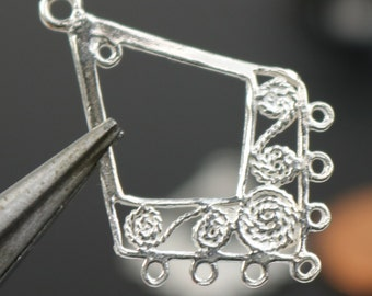 Silver chandelier etsy 2 pcs sterling silver chandelier earring components 30x20mm 08mm thickness ss251 mozeypictures Gallery