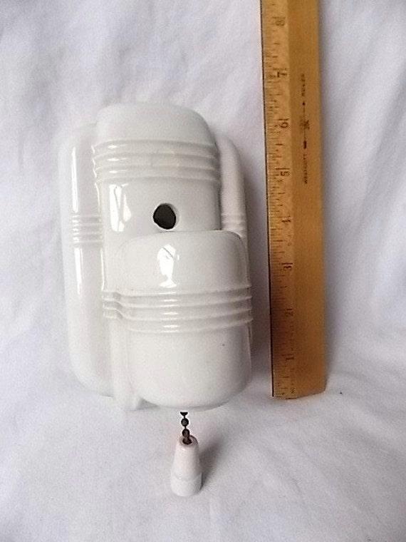 vintage porcelain bathroom light fixture deco design orig pull