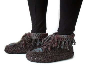 Crochet Hemp Wool Moccasins Multicolored Earth Tones muk luk slipper boot hippy slippers aztec inspired slippers ready to ship