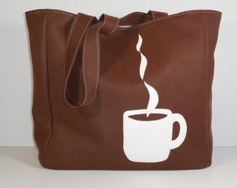 Tote Bag Large Vinyl Coffee Lovers Coffee Mug Brown Knitting Crocheting Toys Market Beach Book Computer Overnight Bag