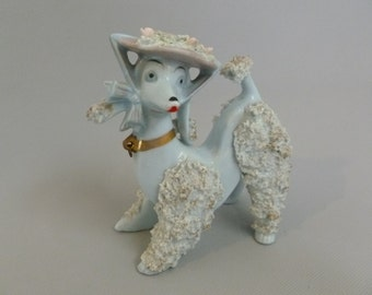 Vintage Mid Century Blue Spaghetti French Poodle