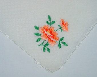 Vintage White Hanky with a Embroidered Flowers - Handkerchief Hankie
