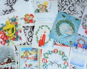 Christmas Wreath in Various Forms and Bringing in Tree in Christmas Card Lot No 672 Lot of 9