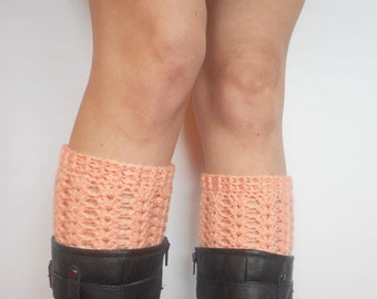 Textured Crochet Boot Cuffs in Peach, ready to ship.