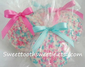 Gender Reveal Cookies Pink and Blue Chocolate Covered Oreos Cookies Wedding Favors Baby Shower Favors Chocolate Dipped Twins Party Favors