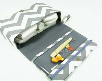 Grey chevron diaper bag, diaper clutch, gray diaper purse, clear zipper pouch, baby shower gift, new parents, fold over bag