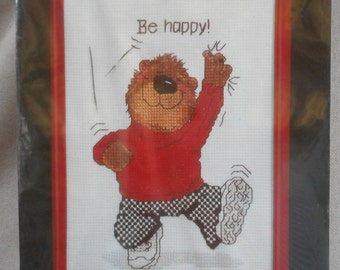 """Vintage Counted Cross Stitch Kit - """"Be Happy"""" (1986)"""