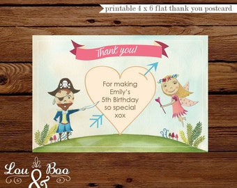 Printable THANK YOU CARD for Woodland Pirate Fairy party - 4 x 6 flat custom thank you card
