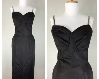 Vintage 1940s Dress Cocktail Party Sateen Rhinestones Hollywood Glam