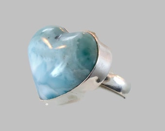 Blue Larimar, Heart Ring,S terling Silver, Vintage Ring, Big Dolphin Stone, Statement Ring, Size 8 1/2, Beach Mermaid, Ocean Sea, Stefilia
