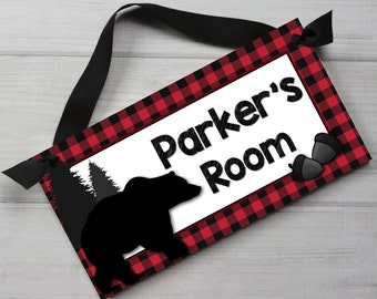 Red Bear Forest Plaid Boys Personalized Bedroom Baby Nursery DOOR SIGN Wall Art DS0434