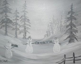 Winter Wonderland O Holy Night Acrylic Painting 14x18