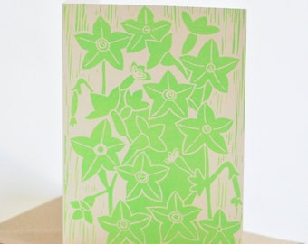 Nicotiana Block-printed Card