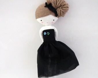 Ballerina rag doll - plush toy cloth art doll ballerina in black tutu dancer ballet ooak MADE TO ORDER