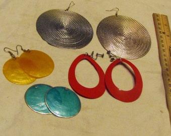 Large Vintage Hippie Earrings, 4 pairs