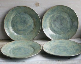 Set of Four Ceramic Dinner Plates in Sage Green Glaze Handmade Rustic Stoneware Dishes Ready to Ship Made in USA