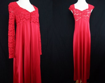 1970s Red Pajama Set Nightgown Peignoir Robe Stretch Lace Maxi Long Sleeve Lorraine Medium