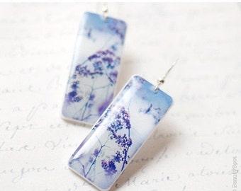 Lilac dangle earrings  (E026)