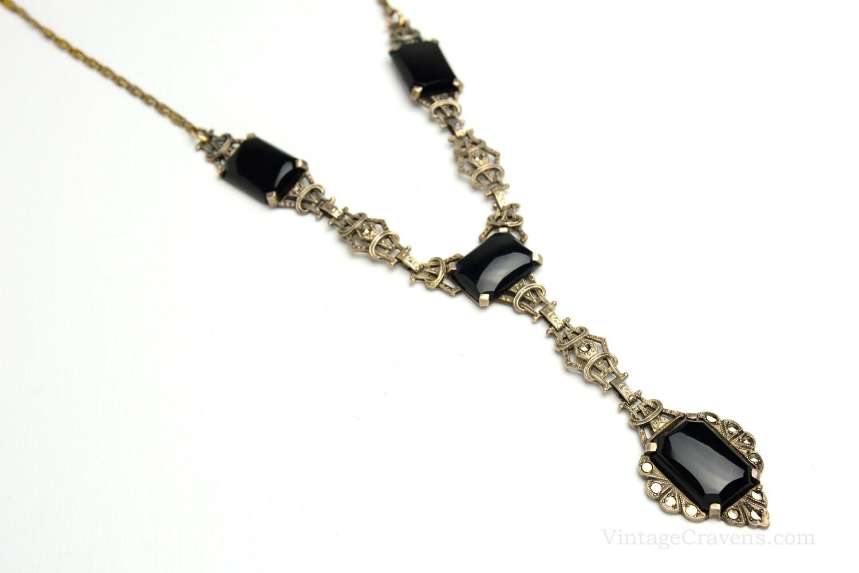 Sale Antique Art Deco Necklace Silver Black Marcasite