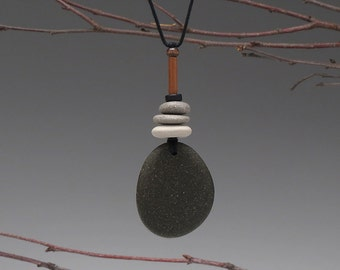 Beach Stone Necklace,nature,women,one of a kind, a personal talisman,zen