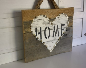 Rustic Farmhouse Reclaimed Wood Home and Heart Sign- White Heart- Reclaimed Wood Sign