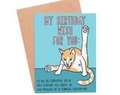 Funny Birthday Card - Birthday Wish Cat
