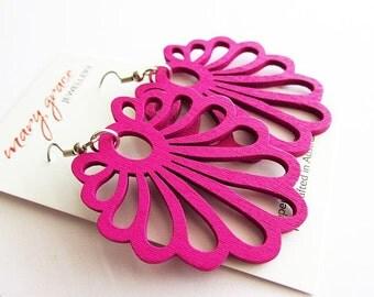 Fuchsia Pink Wooden Fan Earrings