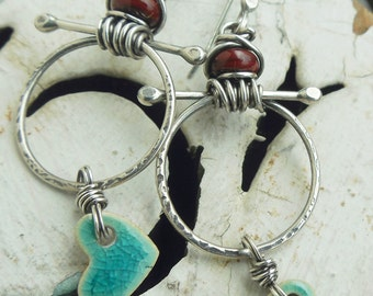 Turquoise Heart Earrings in Silver with Southwest Color