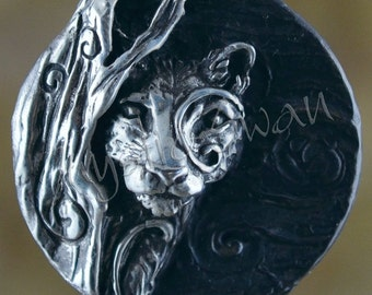 Spirit Cougar Fantasy Pendant with Tube Bail in Sterling Silver