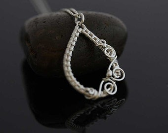 Sterling Silver necklace. Alma wrapped silver pendant. Sterling silver jewelry, gift for her