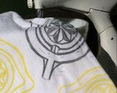 Hand Printed Flour Sack Towel/Juicer Motif/Slate Gray and Lemon/Tea Towel/FREE SHIPPING