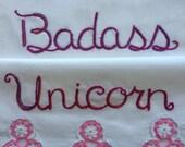 Badass Unicorn, Pillowcases, Hand Embroidered, Girlfriend Gift, OOAK, Valentine