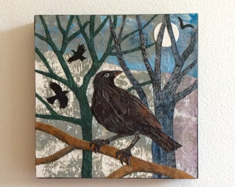 Original collage of crows under the winter moon, six inch square panel