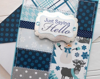 Hello / All Occasion Card with Matching Embellished Envelope - Winter Patchwork